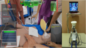 A screenshot of Vankipuram and colleagues' cardiac life support simulation (left) and an input device designed to simulate compressions (right).