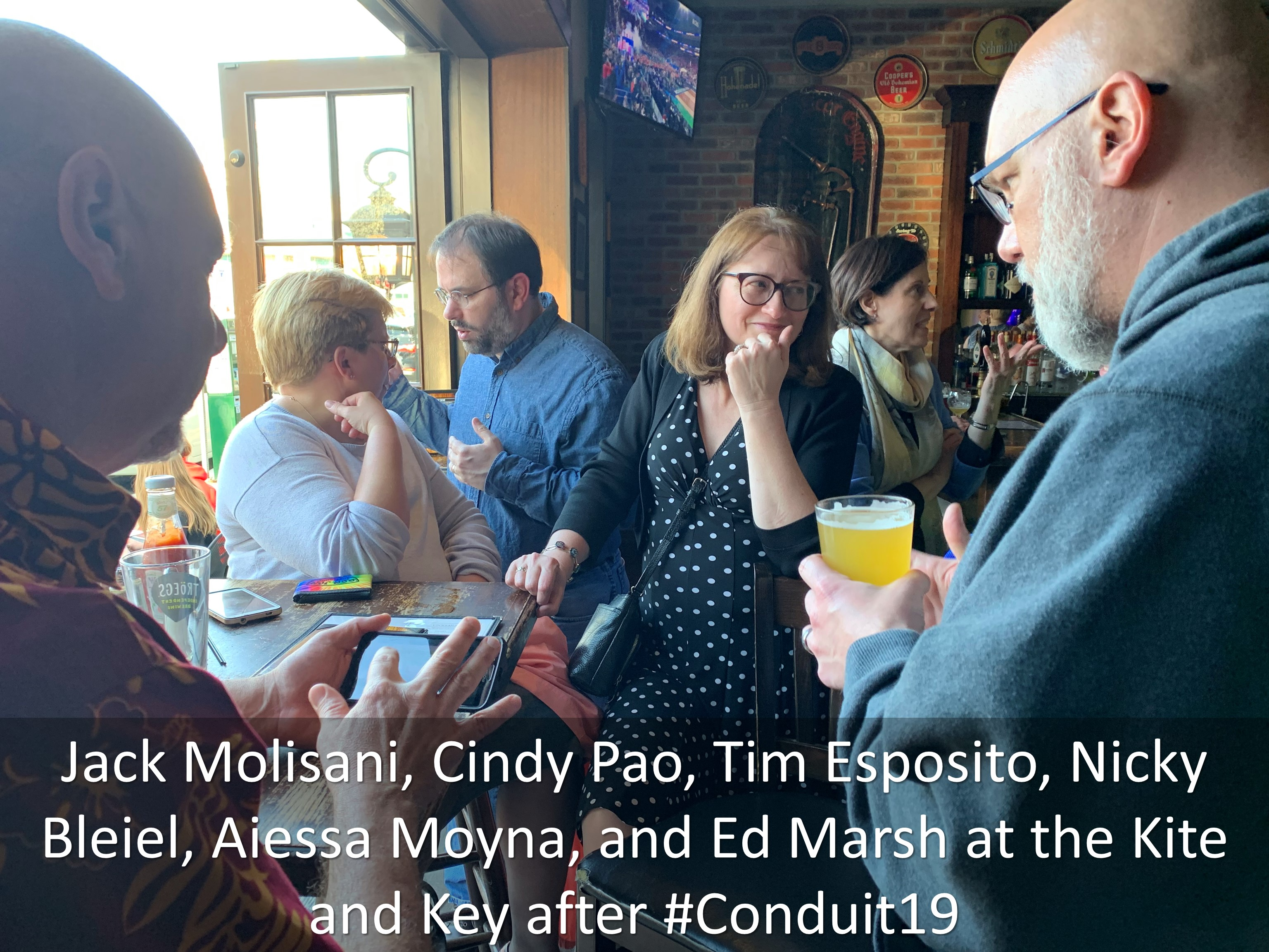 22 Jack Molisani Cindy Pao Tim Esposito Nicky Bleiel Aiessa Moyna and Ed Marsh at the Kite and Key after Conduit19